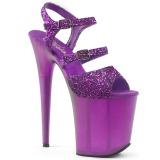 Lilla 20 cm FLAMINGO-874 glitter plateau sandaler sko