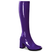 Lilla laklæder støvler blokhæl 7,5 cm - 70 erne hippie disco boots knæhøje - patent læder støvler