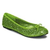 Limegrøn STAR-16G glitter ballerina sko med flade hæle