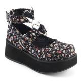 Linned stof 6 cm SPRITE-02 lolita sko gothic plateausko med tykke såler