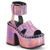 Lyserød 12,5 cm Demonia CAMEL-102 lolita sandaler med plateau
