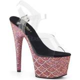 Lyserød 18 cm ADORE-708MSLG glitter plateau sandaler sko
