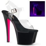 Lyserød 18 cm SKY-308TT Neon plateau high heels sko