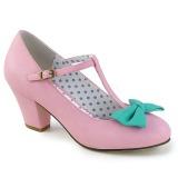 Lyserød 6,5 cm WIGGLE-50 Pinup pumps sko med blokhæl