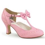 Lyserød 7,5 cm FLAPPER-11 Pinup pumps sko med lave hæle