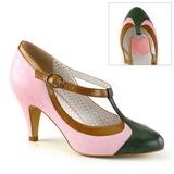 Lyserød 8 cm PEACH-03 Pinup pumps sko med lave hæle