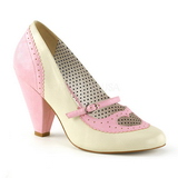 Lyserød 9,5 cm POPPY-18 Pinup pumps sko med lave hæle