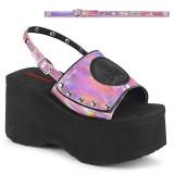 Lyserød 9 cm Demonia FUNN-32 lolita sandaler med plateau