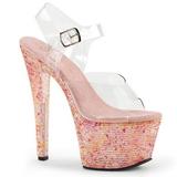 Lyserød Krystal Sten 18 cm CRYSTALIZE-308TL højhælede sandaler til kvinder