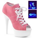 Lyserød Neon 15 cm DELIGHT-600SK-01 canvas sneakers med høje hæle