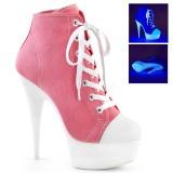 Lyserød Neon 15 cm DELIGHT-600SK-02 canvas sneakers med høje hæle
