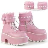 Lyserød Vegan 9 cm ASHES-57 lolita plateau ankelstøvler med blokhæl til kvinder