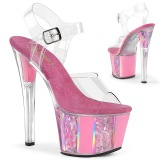 Lyserød gennemsigtig 18 cm SKY-308OF højhælede sko - pole dance sko