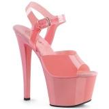 Lyserød høje hæle 18 cm SKY-308N JELLY-LIKE stræk materiale plateau høje hæle