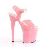 Lyserød høje hæle 20 cm FLAMINGO-808N JELLY-LIKE stræk materiale plateau høje hæle