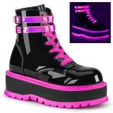 Lyserød neon 5 cm SLACKER-52 cyberpunk plateau ankelstøvler