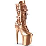 Metallic 20 cm FLAMINGO-1053 plateustøvler - højhælede støvler med spænder guld