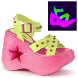 Neon 13 cm Demonia DYNAMITE-02 lolita sandaler med kilehæle