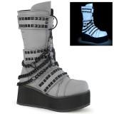 Neon 8,5 cm TRASHVILLE-138 demonia støvler - unisex plateaustøvler