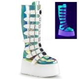 Neon 9 cm DAMNED-318 plateau damestøvler med spænder