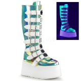 Neon 9 cm DAMNED-318 womens buckle boots with platform