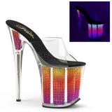 Neon Strass 20 cm FLAMINGO-801SRS dame mules med høje hæl