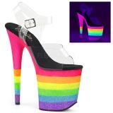 Neon regnbue 20 cm FLAMINGO-808UVRB poledance sko