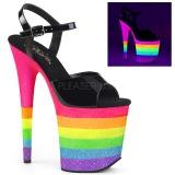 Neon regnbue 20 cm FLAMINGO-809UVRB poledance sko