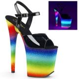 Neon regnbue 20 cm FLAMINGO-809WR poledance sko