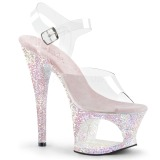 Opal 18 cm MOON-708LG glitter plateau high heels sko