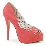 Orange Leatherette 13,5 cm BELLA-30 womens peep toe pumps shoes