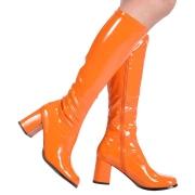 Orange laklæder støvler blokhæl 7,5 cm - 70 erne hippie disco boots knæhøje - patent læder støvler