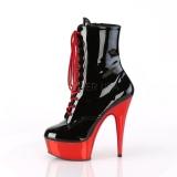Patent 15,5 cm DELIGHT-1020 Red Chrome Platform Ankle Calf Boots