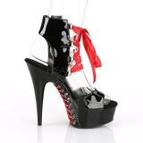 Patent 15 cm DELIGHT-600-14FH corset platform pleaser sandals