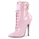 Patent 15 cm DOMINA-1023 Rosa ankle boots high heels