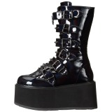 Patent 9 cm DAMNED-225 womens buckle boots with platform