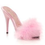 Pink 13 cm POISE-501F Marabou fjer Høje Slip in sko