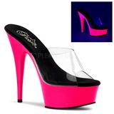 Pink 15 cm DELIGHT-601UV neon plateau mules damer med hæl