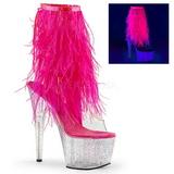 Pink 18 cm ADORE-1017MFF plateau ankelstøvler med marabou fjer