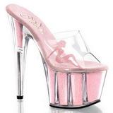 Pink 18 cm ADORE-701-4 Glitter Plateau Høje Slip in Mules