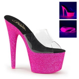 Pink 18 cm ADORE-701UVG neon plateau mules damer med hæl