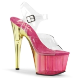 Pink 18 cm ADORE-708MCT Acrylic platform high heels shoes