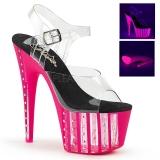 Pink 18 cm ADORE-708VLRS plateau høje hæle med strass sten