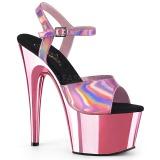 Pink 18 cm ADORE-709HGCH Hologram plateau high heels sko