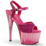 Pink 18 cm ADORE-710GT glitter plateau high heels sko