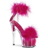 Pink 18 cm ADORE-724F pole dance højhælede sandaler med fjer