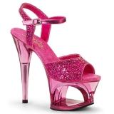 Pink 18 cm MOON-710GT glitter plateau high heels sko