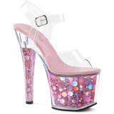 Pink 18 cm RADIANT-708BHG Hologram platform high heels shoes
