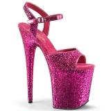 Pink 20 cm FLAMINGO-810LG glitter plateau high heels sko