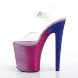 Pink 20 cm XTREME-808OMBRE glitter plateau high heels sko